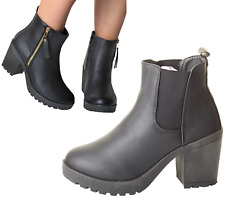 Woman's Chunky UK Grip Sole Block High Heel Black Ankle Zips Chelsea Shoes Boots