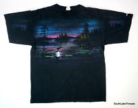 Vintage 90s Double Sided Graphic T-Shirt Loon Moonlight Nature T-Shirt XL