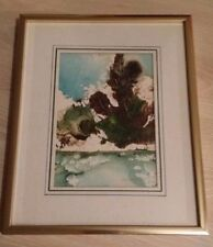 """Vintage """"Snowy Bank"""" Framed & Matted Print / Painting by Des Matthews Signed"""