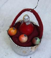 Christbaumschmuck SEBNITZ KORB Früchte Weinflasche Obst Staniolpapier um 1920