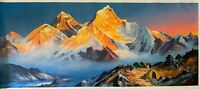 MOUNT EVEREST SUNRISE VIEW FROM BASE CAMP ORIGINAL ACRYLIC  PAINTING  22 x 52""