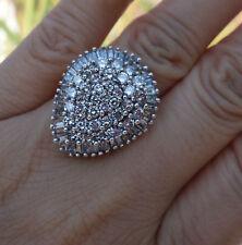 4 cts H-I/Si1-I1 Huge Large diamond cluster dinner 14k WG heavy ring
