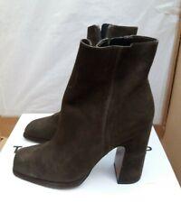 TOP SHOP 'Holden' Soft Suede Leather Platform Boots - Khaki - UK 3