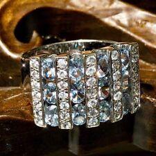 18k Oro Blanco 10 Filas Ovalado Aguamarina Diamond X-Wide Diseño Firmado Anillo