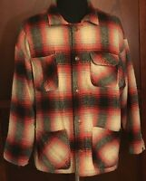 Urban Equipment Country Black Red Plaid Wool Blend Lined Flannel Shirt Jacket L