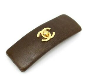 CHANEL Authentic Turn Lock Leather Barrette Hair clip Brown Used from Japan
