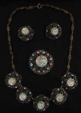 Czech Filigree Necklace Earrings Brooch Set 30s 40s Vintage Art Deco Ornate