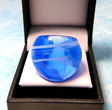 Unique Pattern Royal Blue Hand Blown Glass Ring & White Swirl Accent Size 8.75