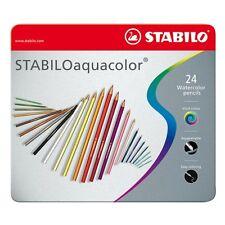 STABILO Matite AQUACOLOR 24 Colori Acquerellabili in Astuccio Metallo 1624-5