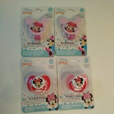 Disney Minnie Mouse Baby Pink 2 Pacifiers & 2 Holders BPA FREE