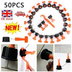 50pcs Tile Leveling System Leveler Spacer Wall Floor Tool Construction+Wrench