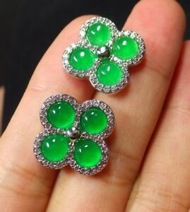 White Gold Plate Icy Green JADE Earrings Cabochon Diamond Imitation 310108
