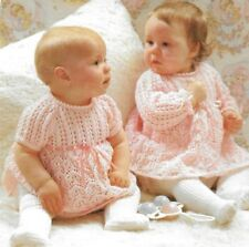 """Baby lacy dress knitting pattern Long or short sleeves 16"""" - 20"""" 3 ply 1013"""