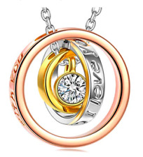 Mom's Christmas Necklaces Gift Sun of Life Three Rings Design Pendant Swarovski