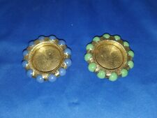 Two  Fisher Jewel Trays-Hammered Brass Blue/Jade Green 1930's FREE SHIPPING