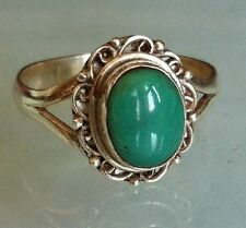 Sterling Silver Traditional Asian Vintage Style Turquoise Ring Size S 1/2 Gift