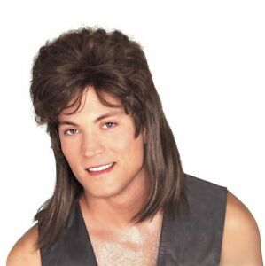 Rubies 80s Mullet Hillbilly Wig Brown Adult Halloween Costume Accessory 51164