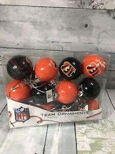 12 NFL Cincinnati Bengals Christmas Ornaments 2″ Plastic Ball Brown/Orange