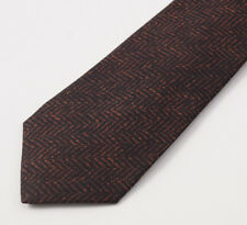 New $295 KITON NAPOLI 7-Fold Brown and Black Herringbone Print Silk Tie