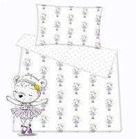 Baby toddler cot cot bed set duvet cover pillowcase 100%cotton Ballerina teddy