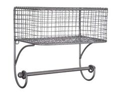 Black Iron Wire Wall Basket with Rod  RUSTIC VINTAGE HOME DECOR New