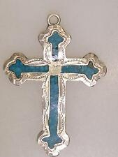 VINTAGE MEXICO STERLING SILVER TURQUOISE INLAY CROSS PENDANT!