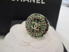COCO CHANEL Authentic Limited Edition Ring CC Green  with Box and Bag size 52