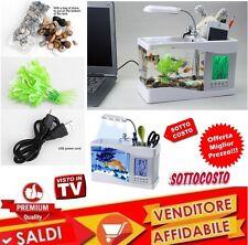 Mini Aquarium Baignoire Poissons LCD USB LED Fontaine Horloge Date Écran Son New