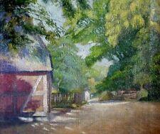THOMSEN signiert -antik Gemälde um 1900: SCHATTIGER PLATZ AUF DEM BAUERNHOF
