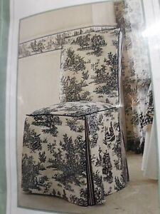"""4 Waverly Garden Armless Dining Room Chair Covers """"Wellington Scenic Toile"""""""