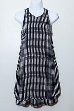 A.L.C. ALC Black Off-White Stripe Striped Tunic Sheath Dress Silk size Small S