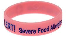 Egg Nut Allergy Alert Pink Silicone Wristband Medical Alert ID Bracelet Mediband