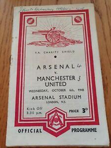1948 FA CHARITY SHIELD PROGRAMME - Arsenal v Manchester United