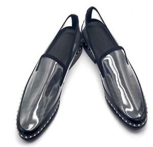 Mens Transparent Pumps Leather Rivet Slip On Runway Loafers Pointy Toe Shoes SZ