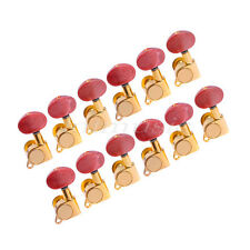 12L Acoustic Guitar Tuning Peg Enclosed Machine Heads Amber Red Button Pegs Gold