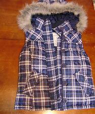 Aeropostale Womens Puffer Style Hooded Vest XS Blue/White Plaid Faux Fur Zip