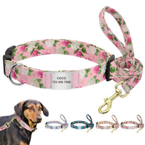 Floral Personalized Dog Collar and Leash with Engraved Pet Slide On ID Tag S M L