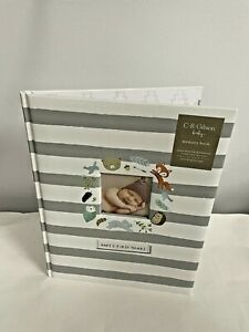 C R Gibson Baby Memory Book Striped Animals Record Milestones First Five Years