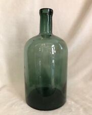 "Antique Vintage Tall French Green Demijohn Handblown Wine Bottle, 12"" Tall"