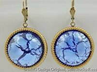 Mid Century Blue Cracked Foil Japanese Cabochon Rope Trim Dangle Earrings