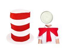 Kinder Erwachsene Katze Im Hut Kostüm Hut Fliege Rot & Weiß Gestreift Buch Tag