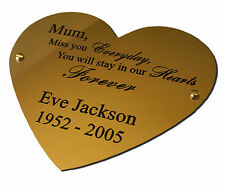"""4"""" Heart Solid Brass Plaque/Name plate. Deep Engraving in Solid Brass"""