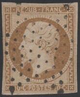 """FRANCE STAMP N° 9 a """" LOUIS-NAPOLEON 10c  BISTRE - BRUN 1852 """" OBLITERE TB J827"""