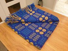 More details for vintage dual caernarfon pattern welsh blanket - blue & yellow