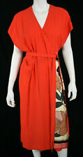 DRIES VAN NOTEN Coral Crepe Floral Silk Side Panel Midi Wrap Dress 42
