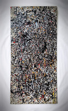 Excellent Mid Century O/B Abstract Drip Painting, Jackson Pollock Style