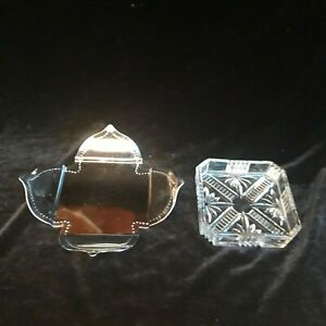 """Vintage Pressed Glass square butter dish with 6.5"""" chrome shaped Tray"""