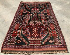 Authentic Hand Knotted Afghan Taimani Balouch Wool Area Rug 5 x 3 Ft (506 HMN)