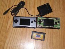 Nintendo Gameboy Micro platinum handheld x 2 + 1 game & charger