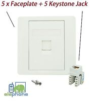 5x 1 Port CAT5e RJ45 Network Faceplate Face Plate Single Wall Socket Keystone UK